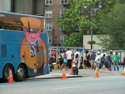 Bus transit loading lot in New York