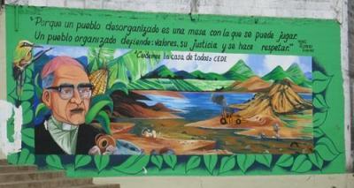 Mural outside Fr. Lorenzo's church in Santa Rosa de Lima, El Salvador. Photo by John Cavanagh