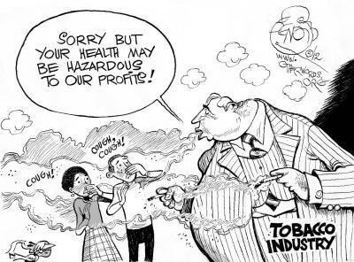 Second-Hand Smoke, an OtherWords cartoon by Khalil Bendib