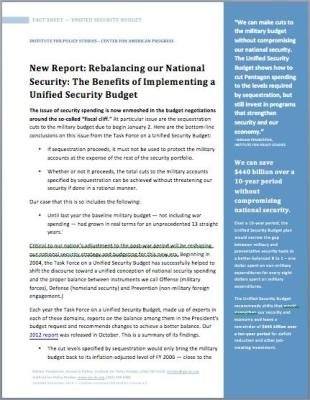 Fact Sheet on Unified Security Budget - Click to download as PDF