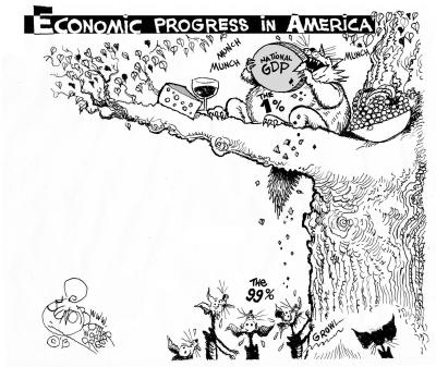 Picturing Economic Growth, an OtherWords cartoon by Khalil Bendib