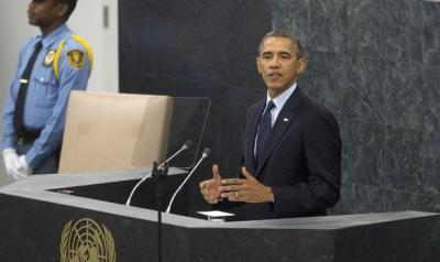President Barack Obama addresses the 68th session of the United Nations General Assembly, Tuesday, September 24, 2013. (AP Photo/Pablo Martinez Monsivais)