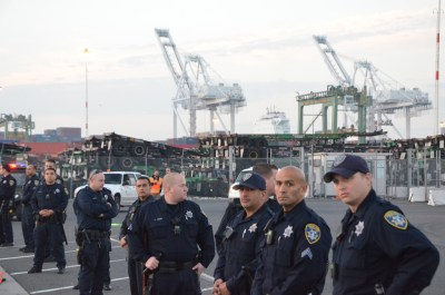 Port drivers strike in Oakland, CA.