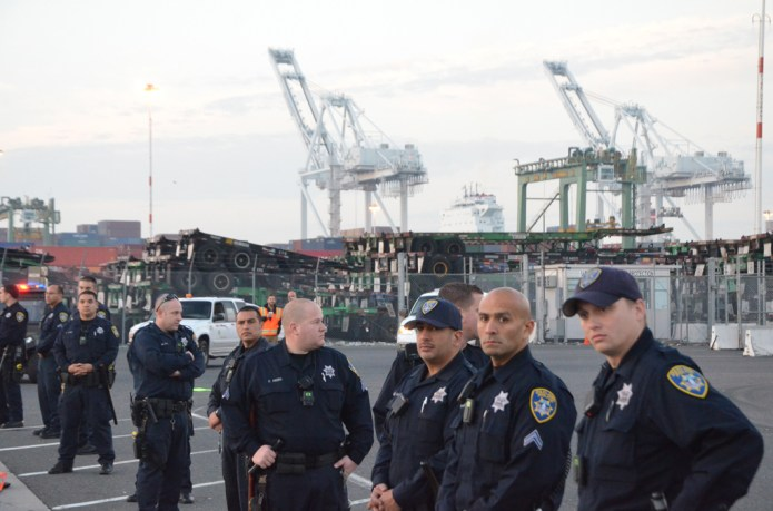 Port drivers strike in Oakland, CA.