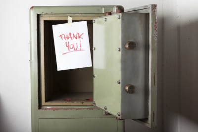 Empty Safe and Thank You Note