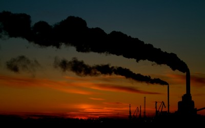 Smokestacks emit pollution