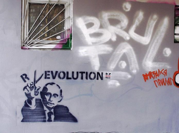Putin graffiti mural