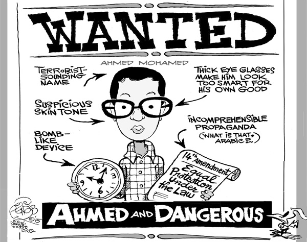 Cartoon of Ahmed Mohammed holding a clock