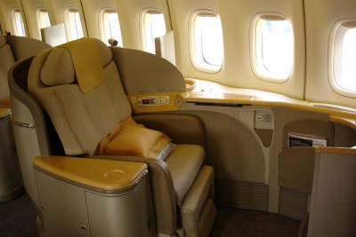 A seat in a plane's first class