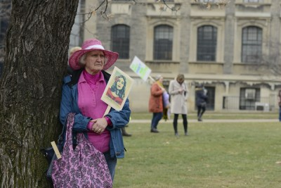 Older woman joins protest