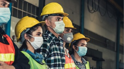 Quarantined masked workers