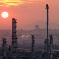 fossil fuel plant and oil refinery