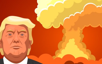 trump illustration with a fire in the back