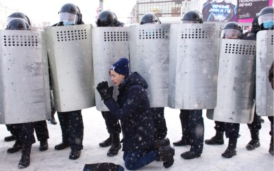 Protest in Barnaul, Russia on January 23, 2021 in support of opposition politician Alexei Navalny