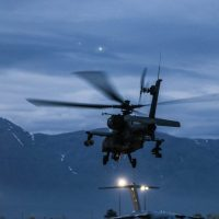 An AH-64 takes off in ready to conduct aviation operations in support of Operation Freedom Sentinel and Resolute Support in Afghanistan, April 14, 2019. - U.S. Army photo by Capt. Roxana Thompson
