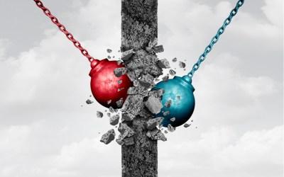 red and blue wrecking balls to depict republican and democrat bipartisanship regarding U.S. China policy