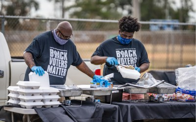Scenes from the Collard Green Caucus food giveaway, sponsored by Black Voters Matter and A Better Glynn, held at Ballard Park