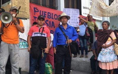 Protest of Tahoe Resources' Escobar silver mine outside the Constitutional Court of Guatemala