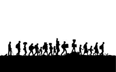 group of people migrating