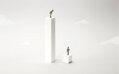 two people standing far apart to depict inequality