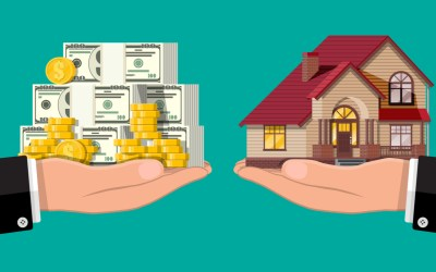 illustration of someone handing money over in exchange for a house