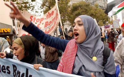 Malalai Arsalai at an anti-war demonstration, October 7, 2001 in San Francisco.