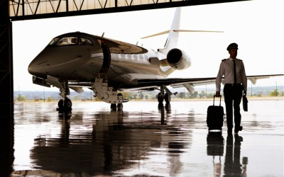 private jet being loaded with luggage