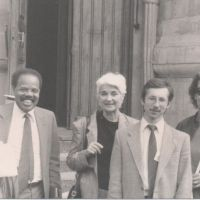 Sissy Farenthold (center) on an Institute for Policy Studies delegation to Moscow in 1984 to discuss disarmament. Donald McHenry, former U.S. Ambassador to the UN, is second from left.