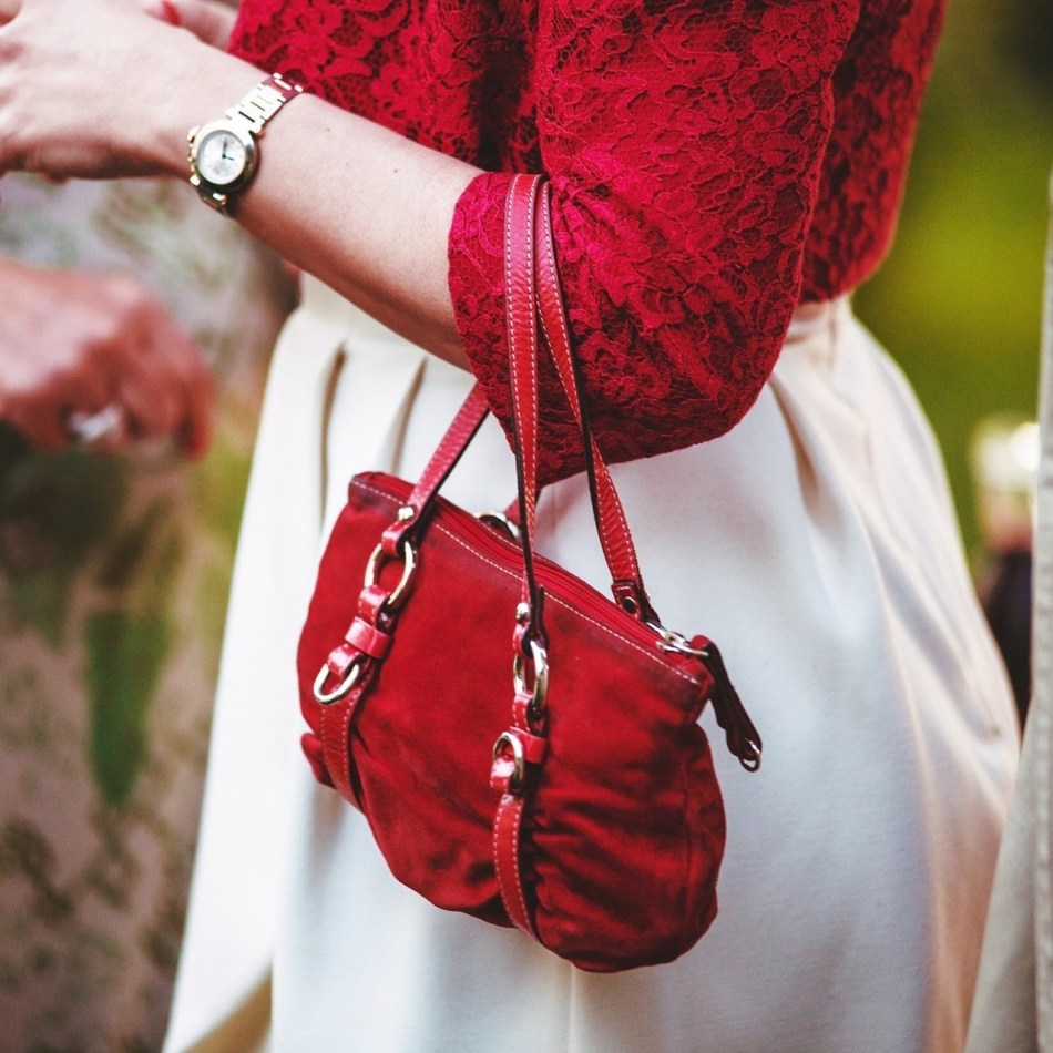 Try something new, red handbag