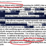 Celltex FDA FOIA letter #2: no safety concerns with our stem cells, which really are not drugs