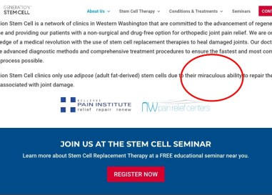 Seattle clinics use FDA commish in marketing non-FDA approved stem