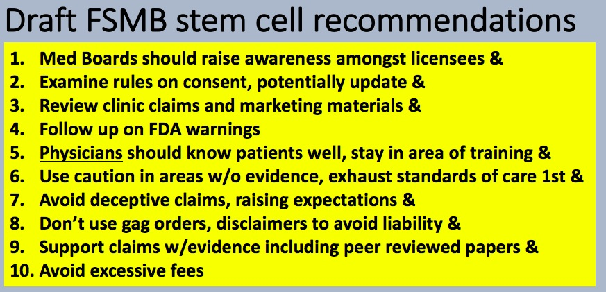 State Medical Boards stem cell draft recommendations