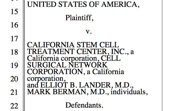 USA vs. California stem cell treatment