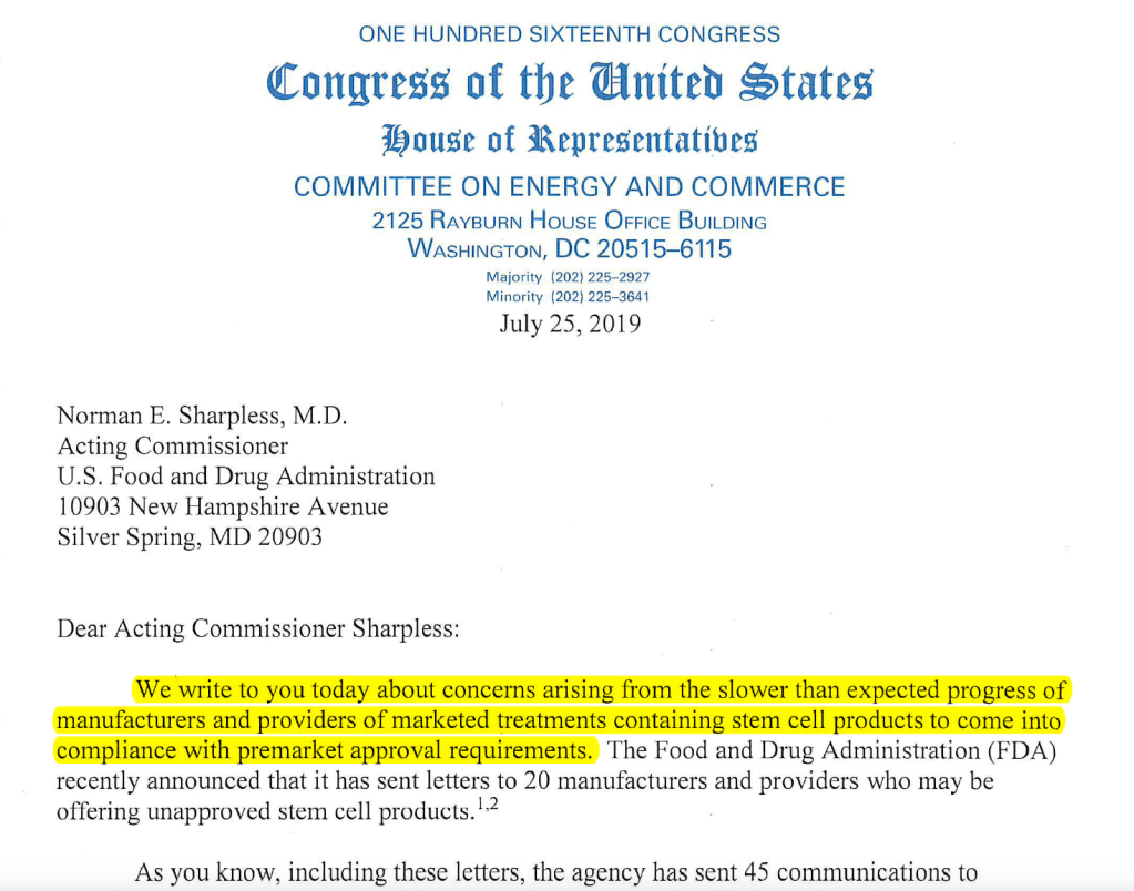 Congress-letter-to-FDA-stem-cell-clinics-2019