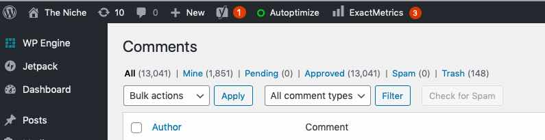wordpress blog comments policy