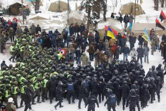 Ukraine protesters and police