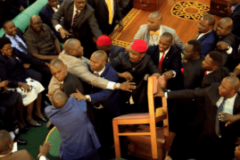 uganda fistfight parliament