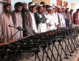 Taliban who surrendered with their weapons to the Pakistan army in August.  / Credit:Ashfaq Yusufzai/IPS