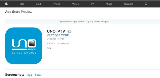 UNO IPTV on iOS