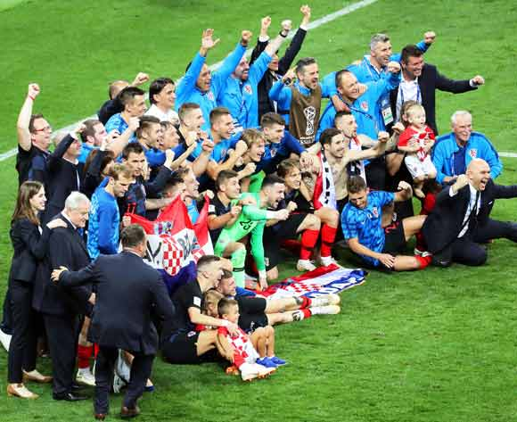 Players of Croatia celebrate after the FIFA World Cup 2018 semi final soccer match between Croatia and England in Moscow, Russia, 11 July 2018. Croatia won 2-1 after extra time. EPA/Abedin Taherkenareh