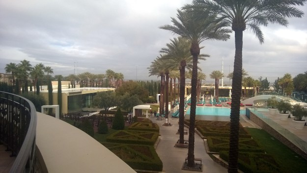 green valley ranch pool view rain