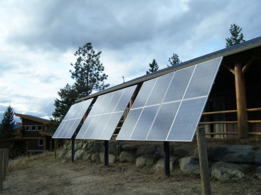 Off Grid solar system with pole mounted solar panels