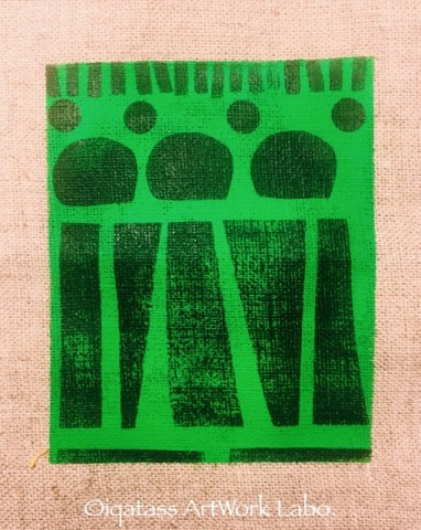Fabric Art:Black on Green