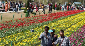 Jammu & Kashmir, Apr 08 (ANI): Tourists take a selfie with blooming Tulip flowers at Asia's biggest Tulip Garden in Srinagar on Thursday. (ANI Photo)