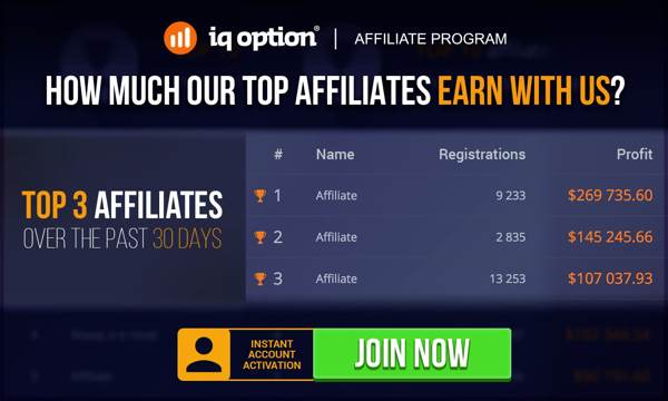 How much top affiliates earn with IQ OPTION