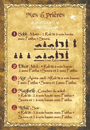 Les 5 Priere De L Islam : priere, islam, Carte, Postale, Prières