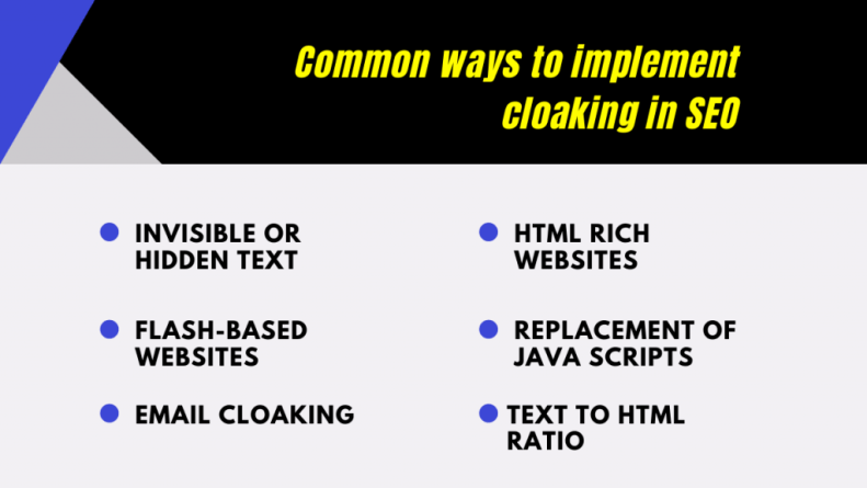 common ways to implement cloaking in SEO