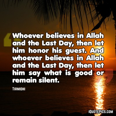 Say good or remain silent hadith on a picture with sunset background.