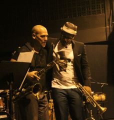 Eteinne Charles and saxophonist Jacques Schwarz-Bart. Etienne Charles live at The Little Carib Theatre, Trinidad. Photo by OvertimeTT.com