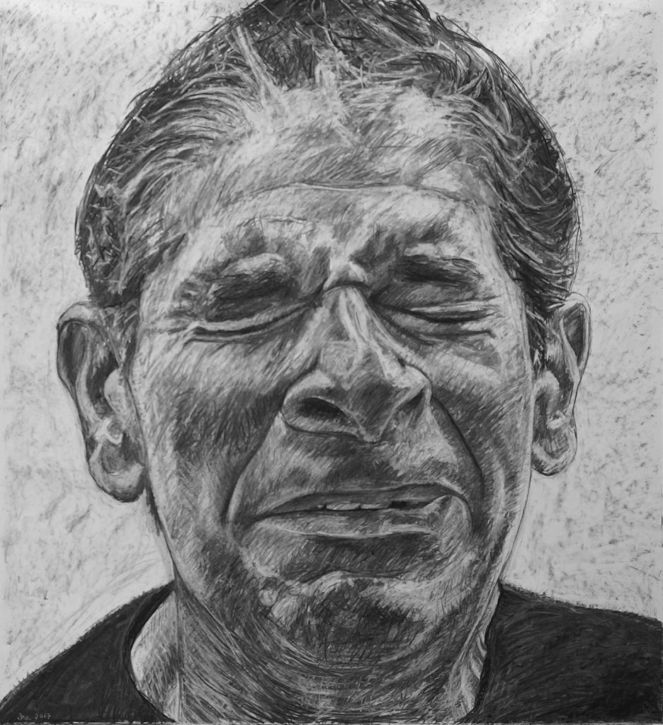 """Despair: Benighted States of America series, 42"""" x 46"""", charcoal on paper, 2017"""